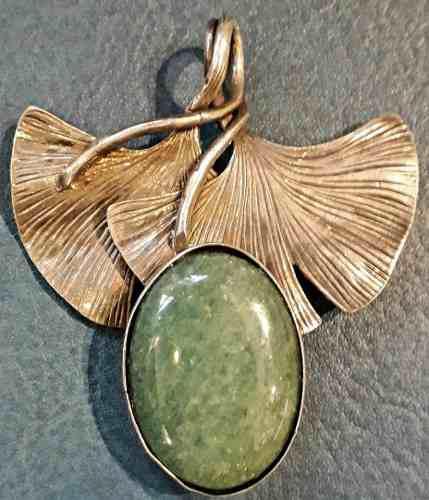 Antiguo Prendedor Plata Art Nouveau Art Deco Ginko Jade 6cm