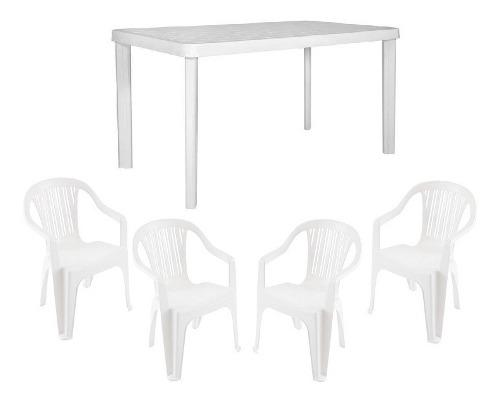 Combo juego jardin 4 sillas garden life + mesa 140x080