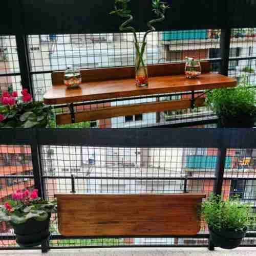 Mesa barra plegable rebatible p/ balcon madera hierro promo