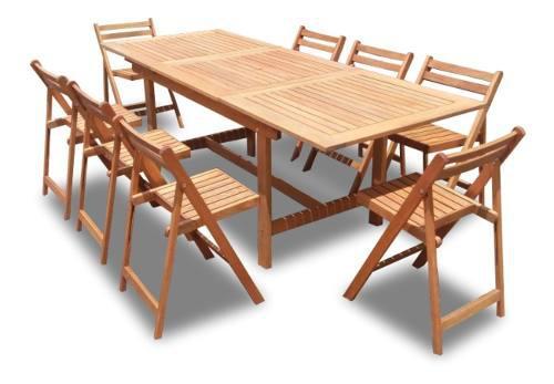 Mesa de madera extensible 1.50/2.20 + 8 sillas plegables