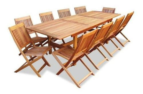 Mesa de madera extensible 1.80/2.50 + 10 sillas plegables