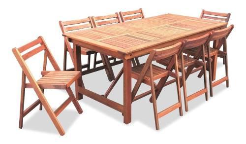 Mesa de madera patas plegable 1.80x95cm + 8 sillas plegables