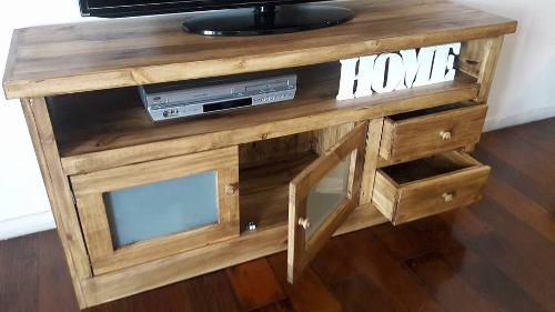 Mueble arrime rack tv lcd plasma 1,40m rústica estilo campo