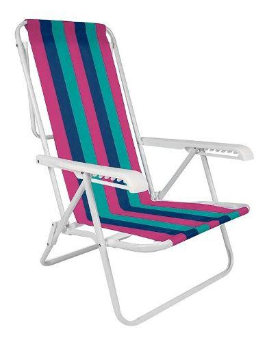 Reposera sillon silla camping rafia 8 posiciones acero mor