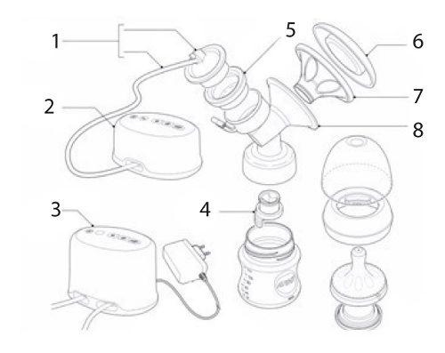 Repuesto sacaleche electrico avent manguera y silicona (1)
