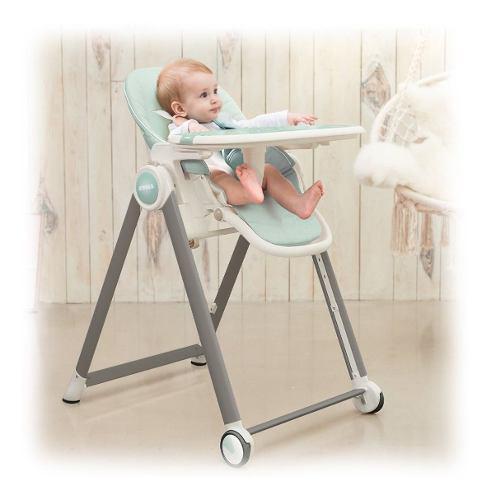 Silla de comer bebé verde 7 posiciones reclinable plegable