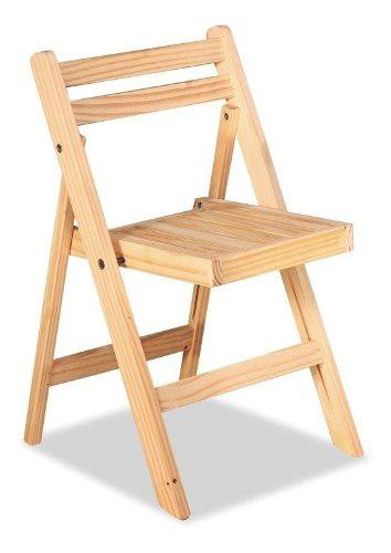 Silla de madera pino plegable natural