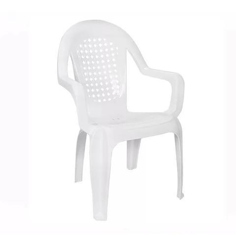 Silla plastica garden life pino apilable respaldo alto blanc