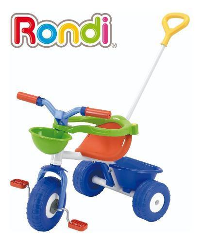 Triciclo infantil con barra de paseo nene nena metal rondi