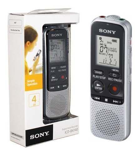 Grabador de voz digital sony icd-bx140 4gb mp3 portátil