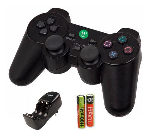 Joystick inalambrico ps3 ps2 pc usb + 2 pilas + cargador