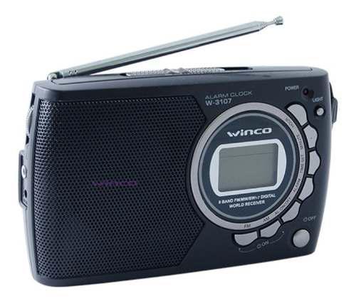 Radio portatil am fm reloj alarma visor digital winco w 3107