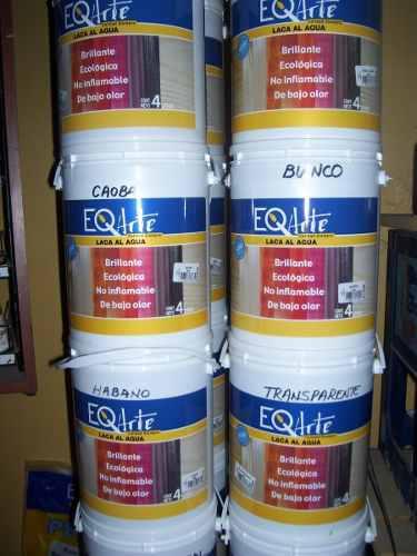 Laca al agua x 4 litros-tiñe y protege maderas-alto brillo