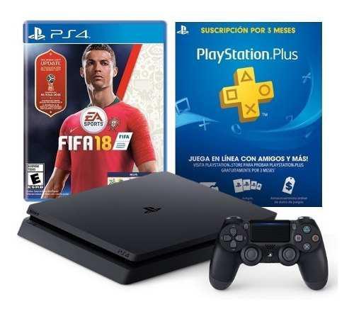 Playstation 4 slim 1tb + fifa 18 ps4 físico + psplus 3