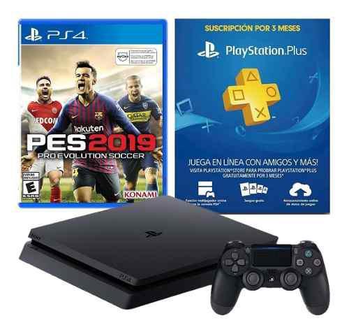 Playstation 4 slim 1tb + pes 19 ps4 físico + ps plus 3
