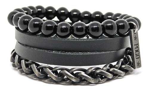 Brazalete 3en1 hombres pulseras cuero metal hecho a mano