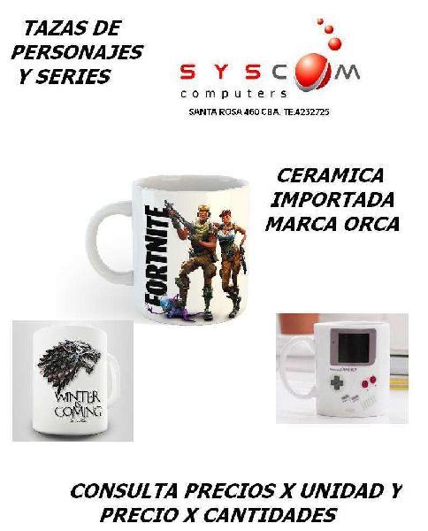 Promo tazas de personajes, juegos, series, etc. de ceramica