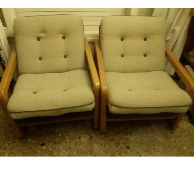 Juego living 2 sillones de 1 cuerpo y vajillero (cedro)