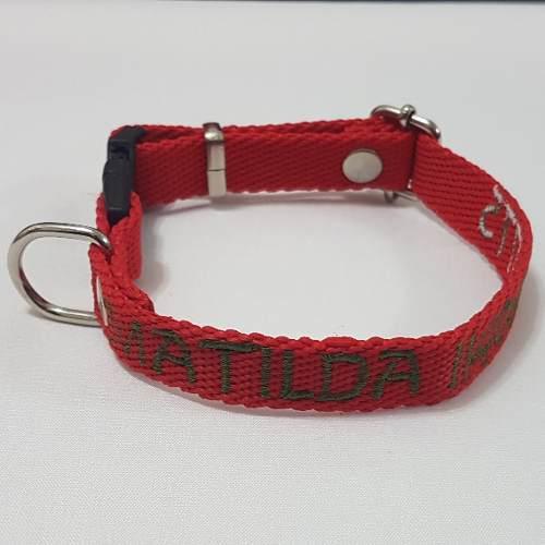 Collar de perro regulable con identificación bordada 1.5 cm