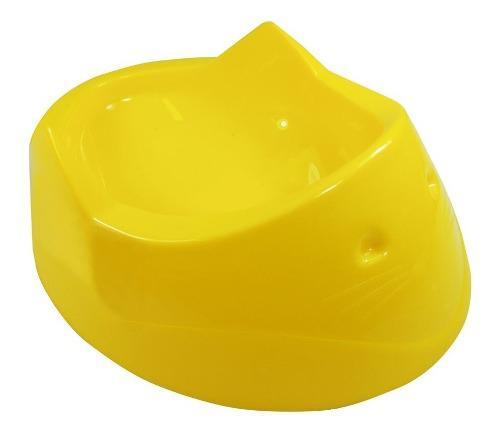Comedero bebedero cara de gato 200 ml amarillo