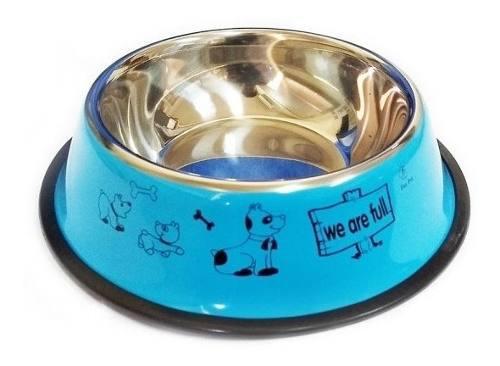Comedero bebedero de acero mediano antideslizante perro n°3