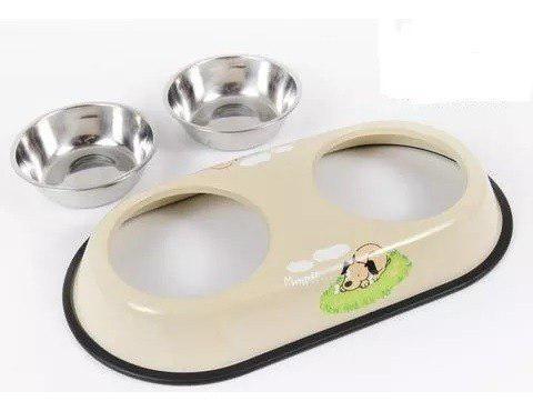 Comedero bebedero doble desmontable perro gato color pastel