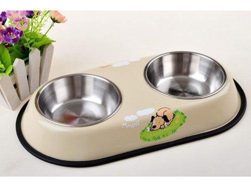 Comedero y bebedero doble de metal para perros gatos chico