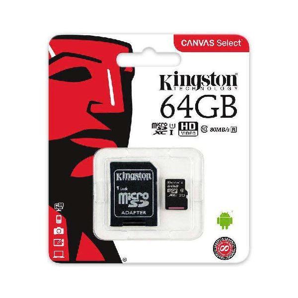 Memoria microsd xc 64gb clase 10 kingston con adaptador sd