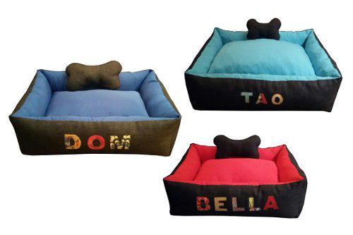 Moises cuna cucha jeans mascota perros 70x55 con nombre t2