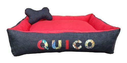 Moises cuna cucha jeans mascota perros 80x65 con nombre t3