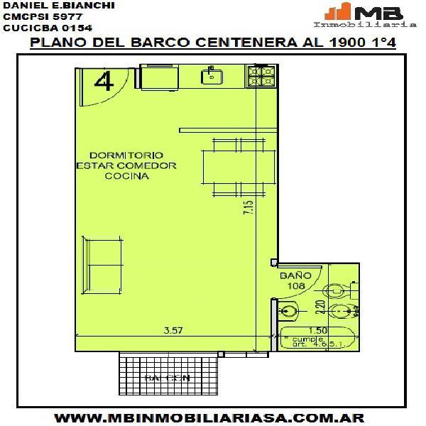 Parque chacabuco venta monoamb. en construcción c/balcón