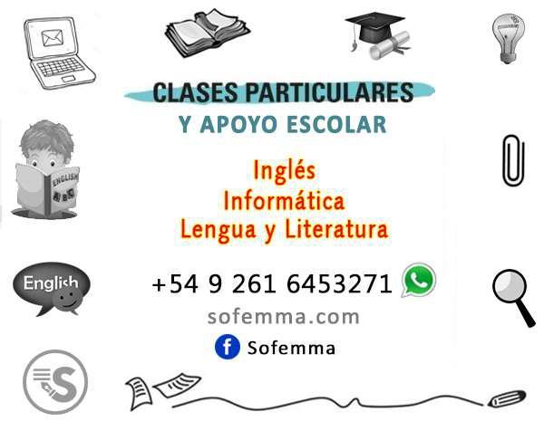 Clases particulares y apoyo escolar: inglés, informática y