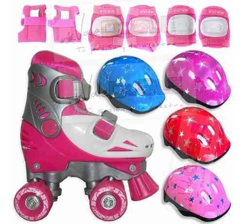 Patines extensibles para nena + protecciones + casco