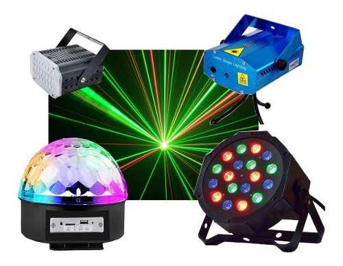 Combo 4 luces led dj fiesta bola + proton 18 + laser + flash