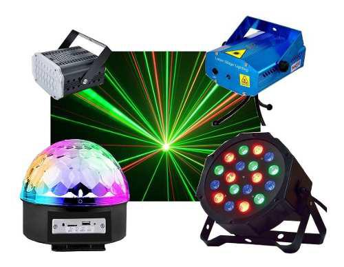 Combo luces led dj fiesta bola + proton 18 + laser + flash