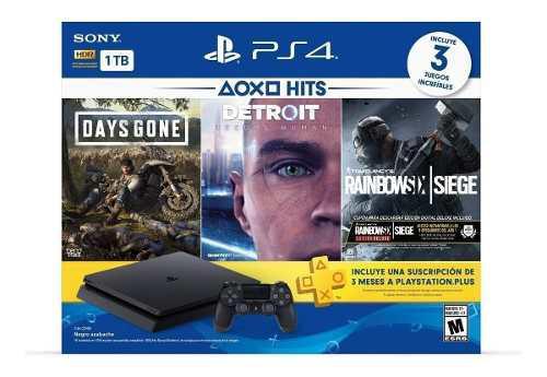 Consola playstation 4 slim hit bundle ps4 con 3 juegos /