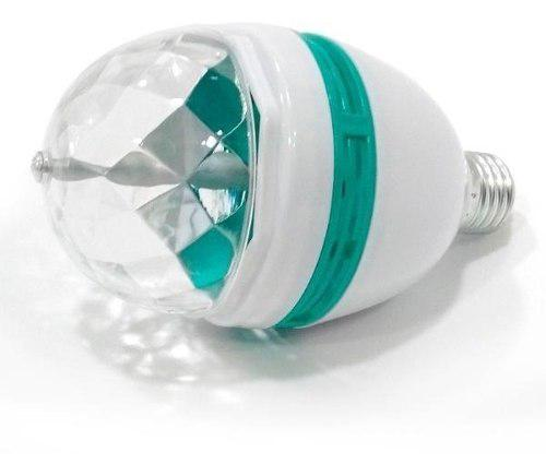 Lampara de led rgb tricolor bola giratoria luminosa a rosca