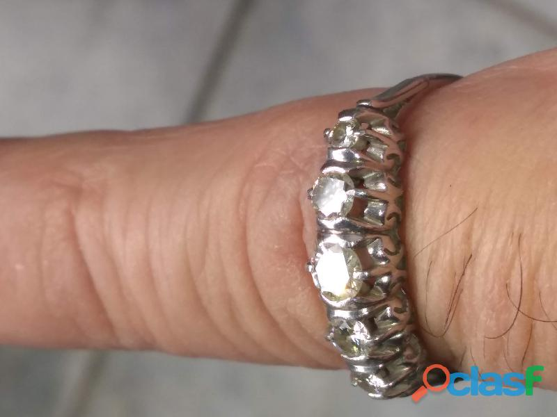 Anillo cintillo de bodas platino y diamantes liquido hermoso bien de famili