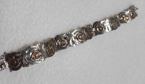Antigua pulsera plata 925 flores cinceladas oro 18k