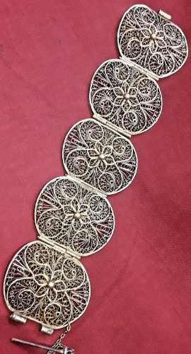Antigua pulsera plata filigrana baño oro 19 cm x 45 mm
