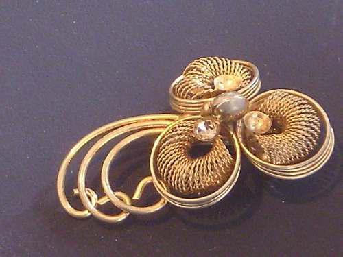 Antiguo prendedor broche dorado decada del 50` cº lk56ju