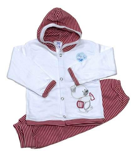 Conjunto campera manga larga/capucha y pantalón rayas bebe