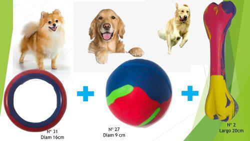 Kit combo juguetes de goma perros grandes mascotas