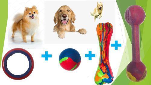 Kit combo juguetes de goma perros medianos mascotas 1