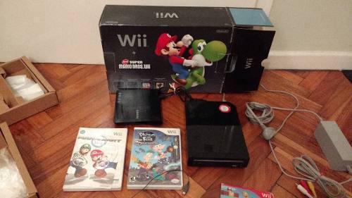 Wii negra chipeada, un control, lectora de cd, tres juegos +