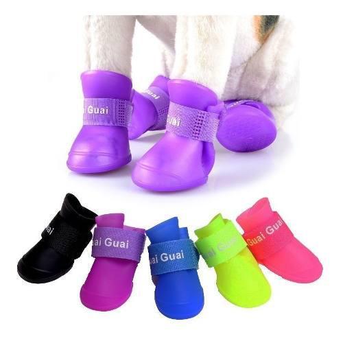 Bota de lluvia zapatos zapatillas para perros gatos silicona