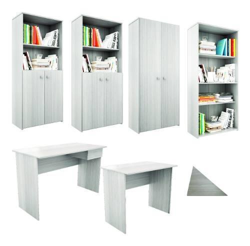 Puesto de trabajo esquinero + escritorio + bibliotecas 135