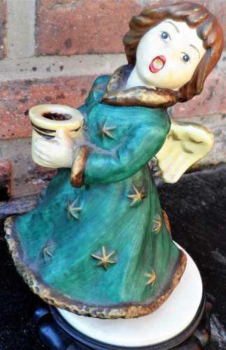Antigua figura musical angel porcelana biscuit 16 cm
