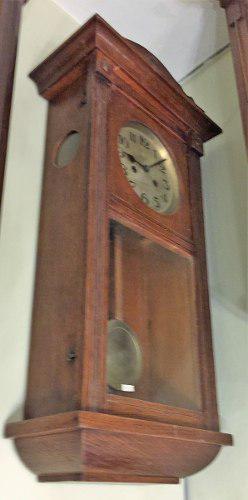 Antiguo reloj pared caja de roble (2434)