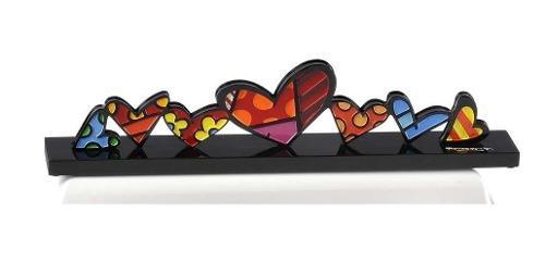 Romero britto escultura de corazones original de coleccion